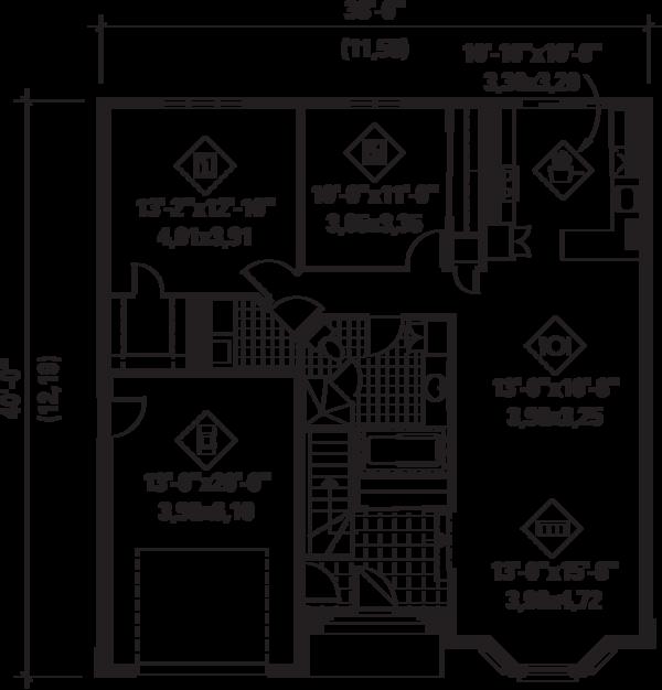 European Floor Plan - Main Floor Plan Plan #25-4596