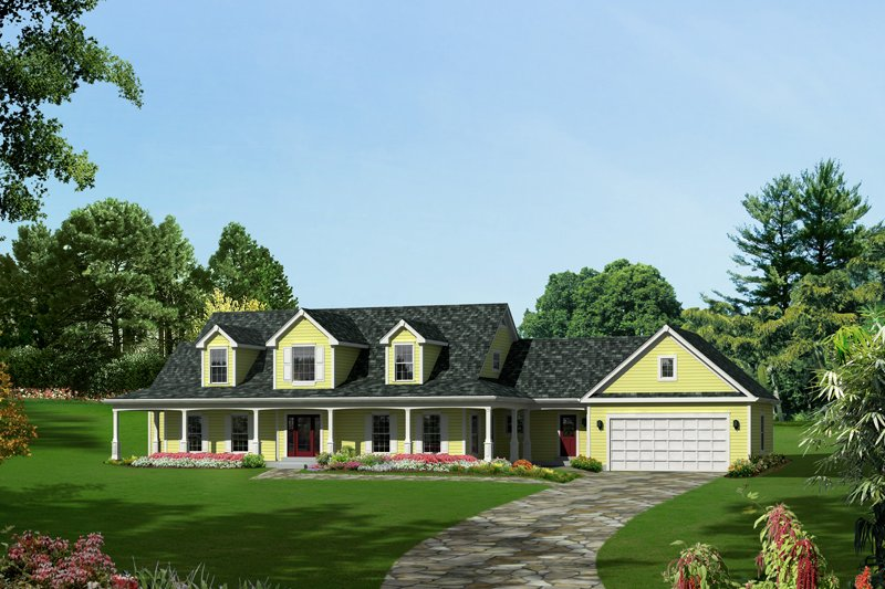 Country Style House Plan - 4 Beds 3.5 Baths 3782 Sq/Ft Plan #57-606 Exterior - Front Elevation