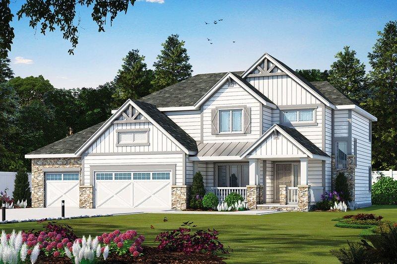 Architectural House Design - Craftsman Exterior - Front Elevation Plan #20-2328