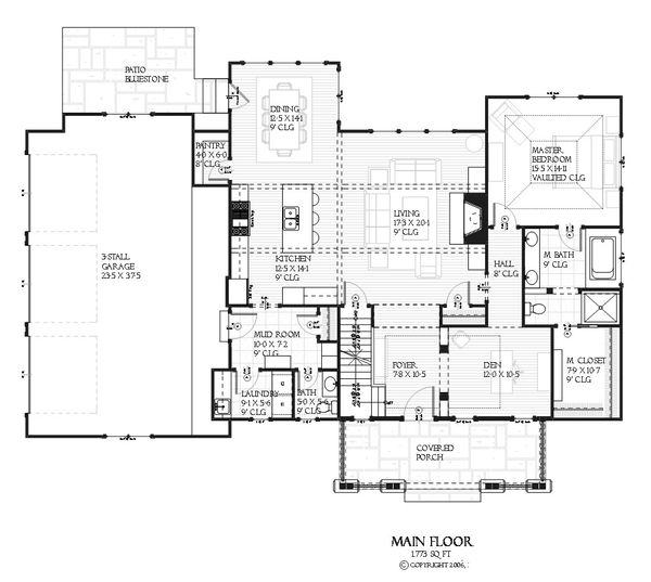 Bungalow style house plan, Craftsman design, main level floor plan