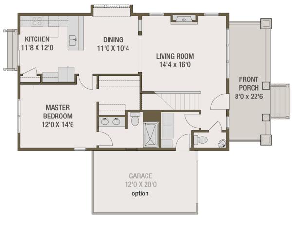 Craftsman Floor Plan - Main Floor Plan Plan #461-69