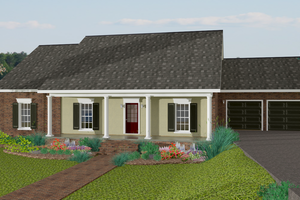 Ranch Exterior - Front Elevation Plan #44-171