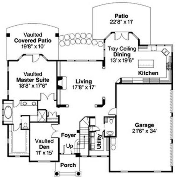European Floor Plan - Main Floor Plan Plan #124-722