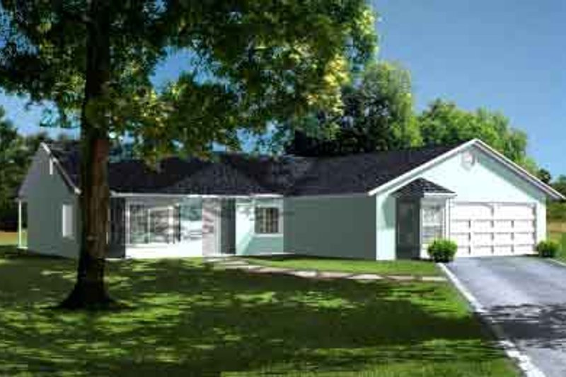 Ranch Style House Plan - 4 Beds 2 Baths 1652 Sq/Ft Plan #1-1320 Exterior - Front Elevation