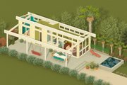 Contemporary Style House Plan - 1 Beds 1 Baths 400 Sq/Ft Plan #917-2