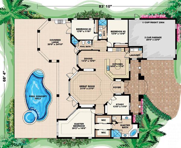 Mediterranean Floor Plan - Main Floor Plan Plan #27-307