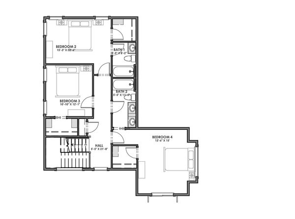 Modern Floor Plan - Upper Floor Plan Plan #1069-9