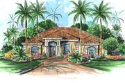 Mediterranean Style House Plan - 3 Beds 3 Baths 3380 Sq/Ft Plan #27-505 Exterior - Front Elevation