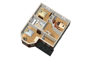 Victorian Style House Plan - 3 Beds 1 Baths 1442 Sq/Ft Plan #25-4673 Floor Plan - Upper Floor