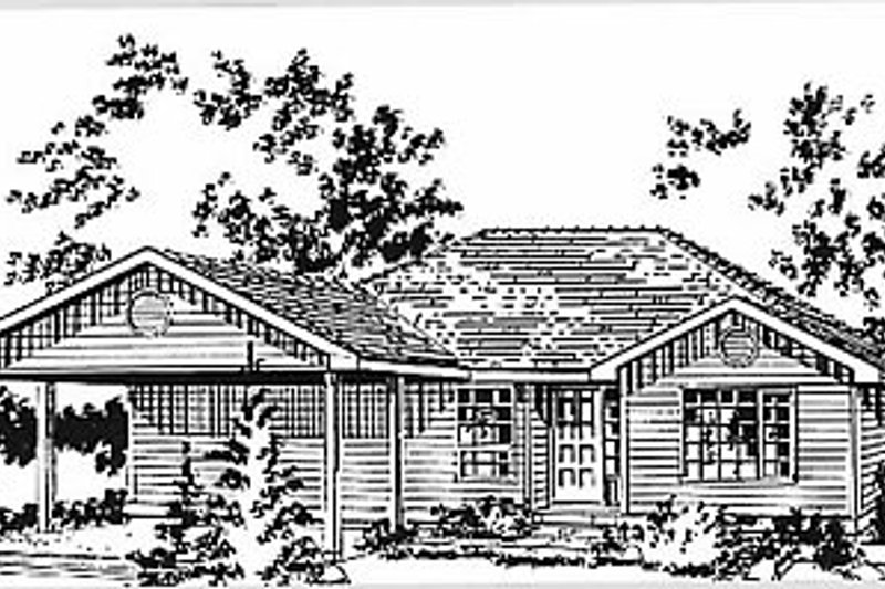 Ranch Style House Plan - 3 Beds 2 Baths 1285 Sq/Ft Plan #18-160 Exterior - Front Elevation