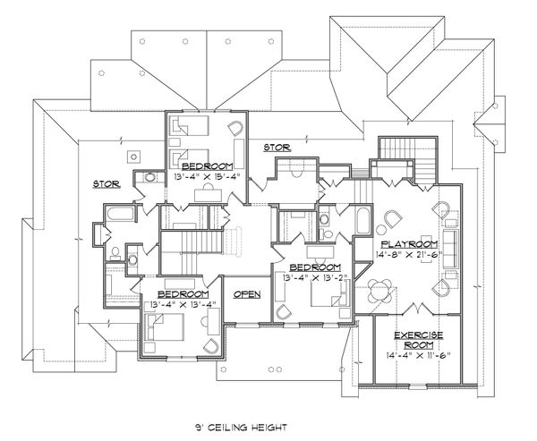 House Plan Design - Traditional Floor Plan - Upper Floor Plan #1054-23