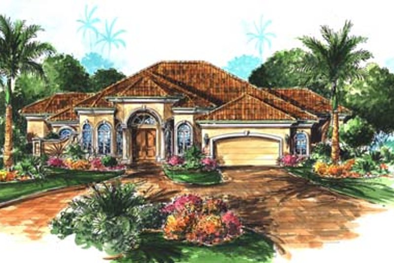 Mediterranean Style House Plan - 3 Beds 2.5 Baths 3091 Sq/Ft Plan #27-106 Exterior - Front Elevation