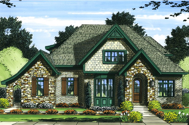 Tudor Exterior - Front Elevation Plan #46-853
