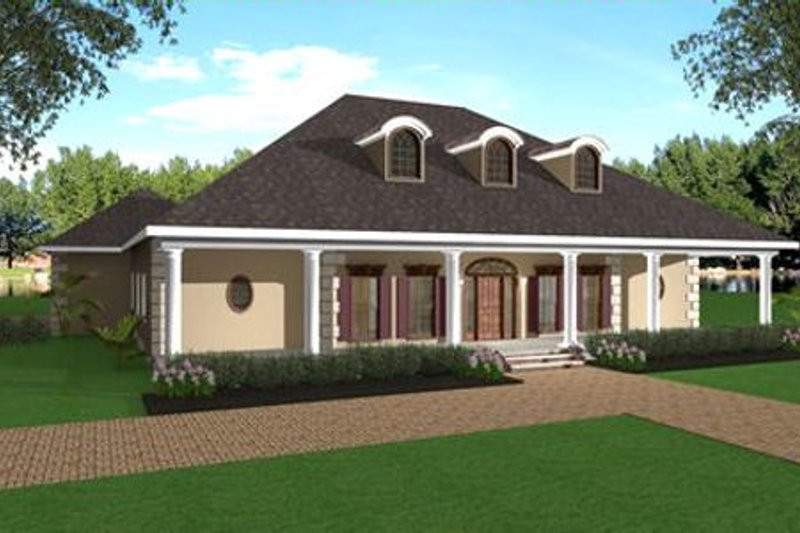 Southern Exterior - Front Elevation Plan #44-147