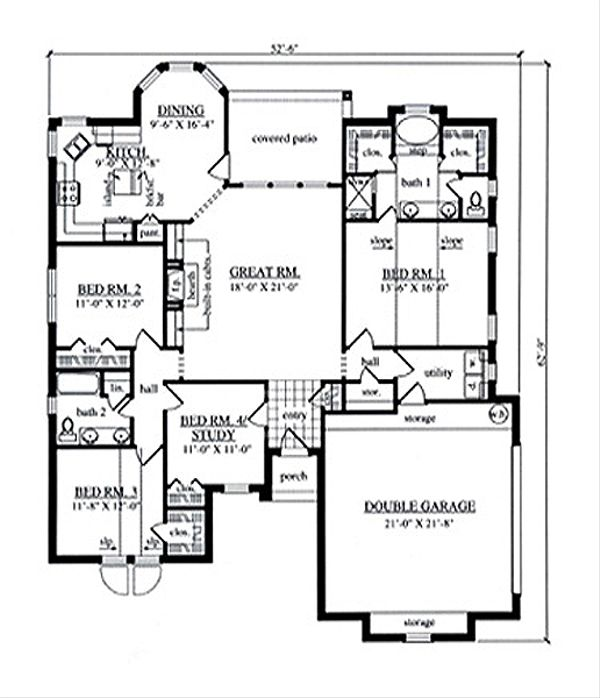 Traditional Floor Plan - Main Floor Plan Plan #42-386