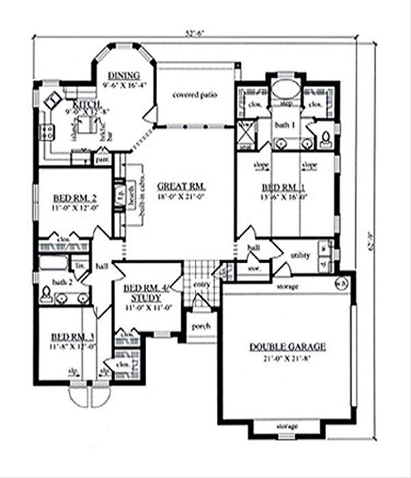 Traditional Floor Plan - Main Floor Plan Plan #42-386