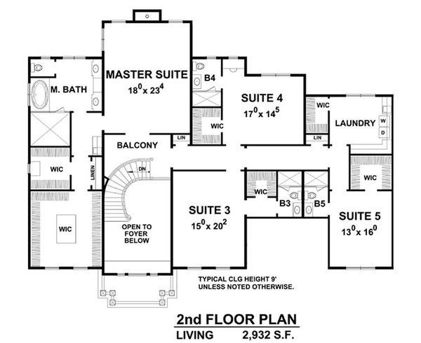 Colonial Floor Plan - Upper Floor Plan Plan #20-2277