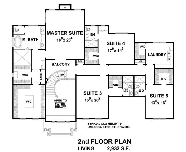 Architectural House Design - Colonial Floor Plan - Upper Floor Plan #20-2277