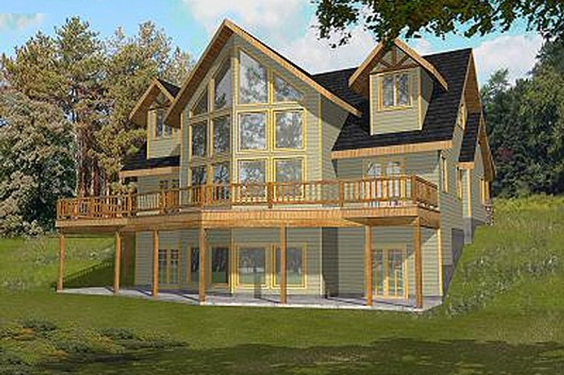 Cabin Style House Plan - 3 Beds 2.5 Baths 2281 Sq/Ft Plan #117-549