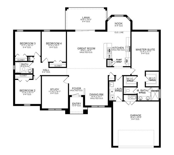 Ranch Floor Plan - Main Floor Plan #1058-192