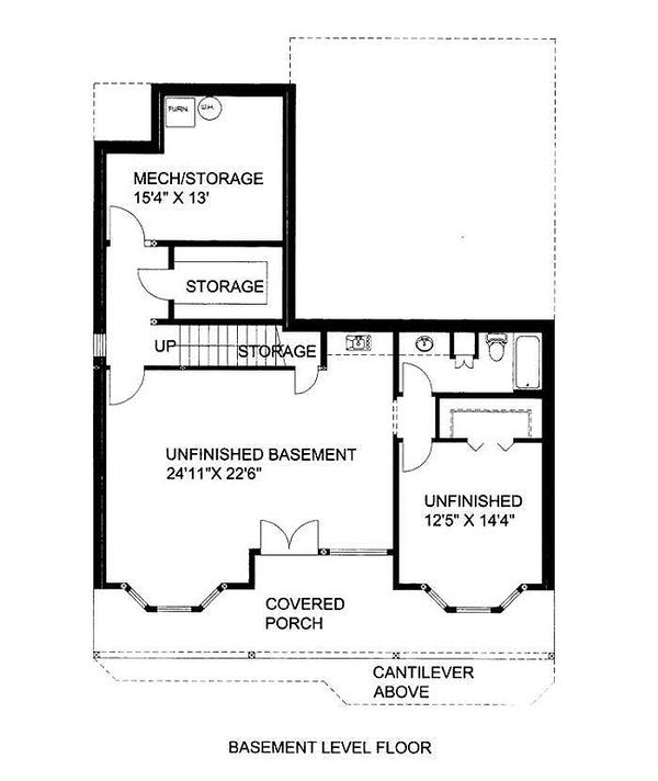 Country Floor Plan - Lower Floor Plan #117-808