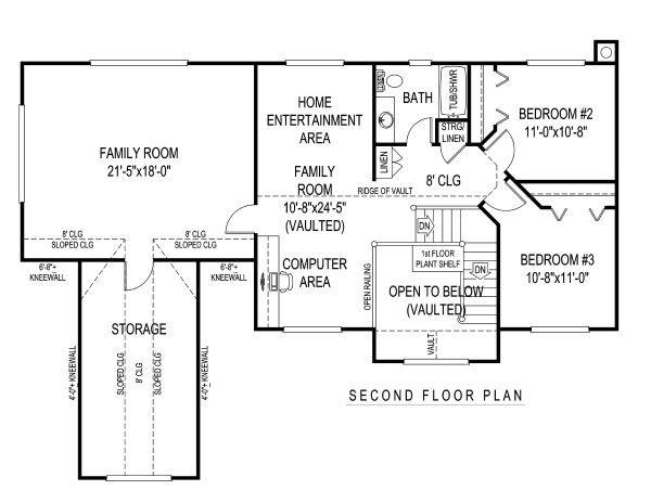 Architectural House Design - Country Floor Plan - Upper Floor Plan #11-225