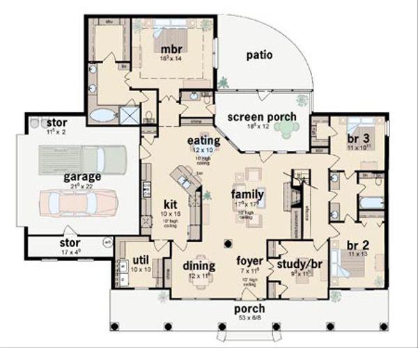 Southern Floor Plan - Main Floor Plan #36-195
