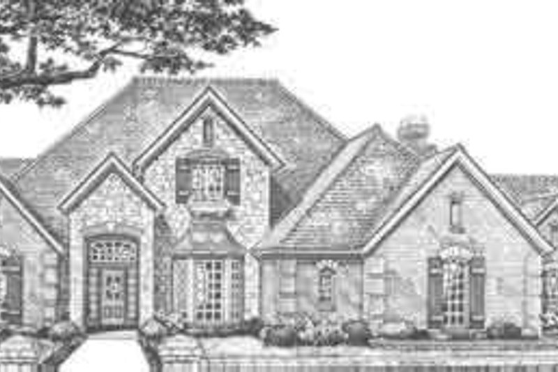 European Style House Plan - 4 Beds 3.5 Baths 3760 Sq/Ft Plan #310-341 Exterior - Front Elevation