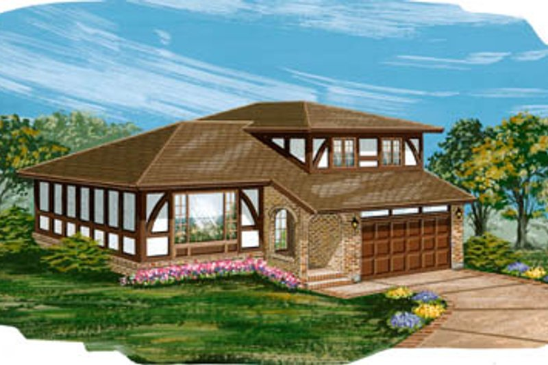European Style House Plan - 4 Beds 2.5 Baths 1939 Sq/Ft Plan #47-444 Exterior - Front Elevation