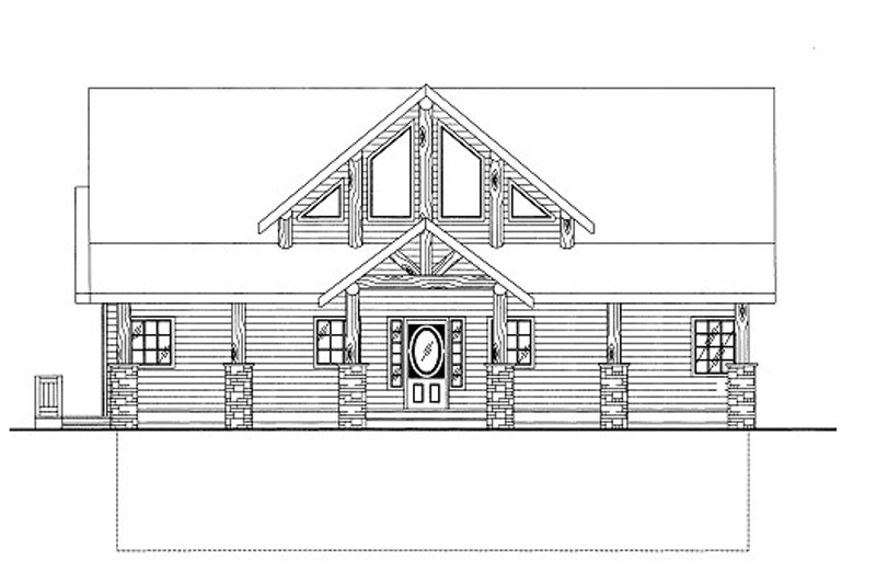 Log Style House Plan - 3 Beds 2.5 Baths 2281 Sq/Ft Plan #117-675 Exterior - Front Elevation