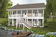 Country Style House Plan - 2 Beds 1.5 Baths 1059 Sq/Ft Plan #56-697 Exterior - Rear Elevation