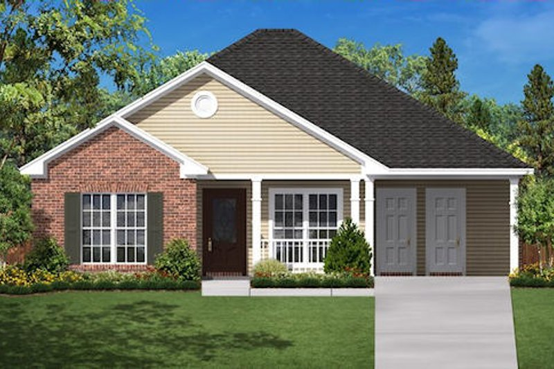 Country Style House Plan - 3 Beds 2 Baths 1350 Sq/Ft Plan #430-6 Exterior - Front Elevation