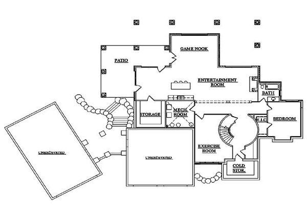 House Plan Design - European Floor Plan - Lower Floor Plan #5-431