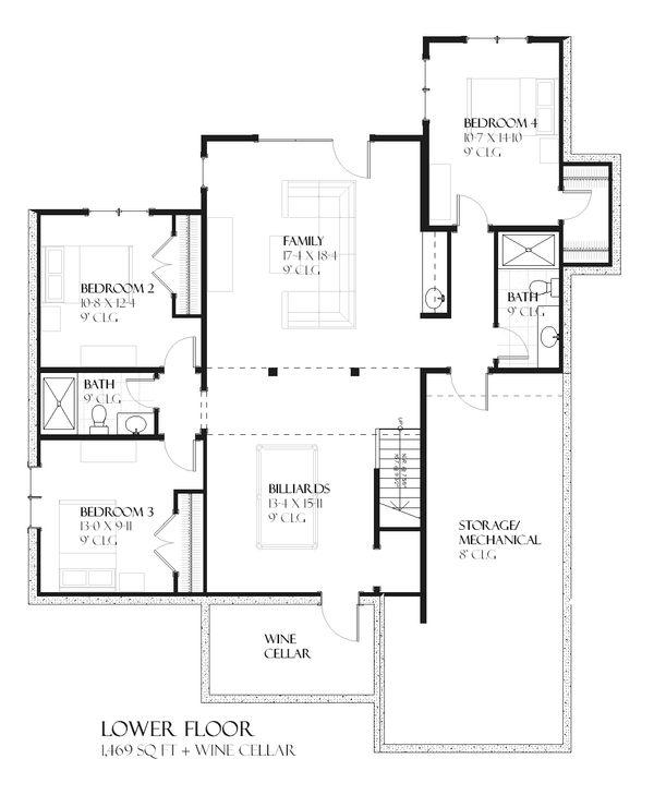 House Plan Design - European Floor Plan - Lower Floor Plan #901-93