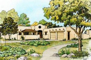 Adobe / Southwestern Exterior - Front Elevation Plan #140-138
