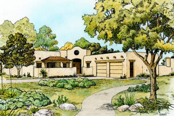 Adobe / Southwestern Exterior - Front Elevation Plan #140-138