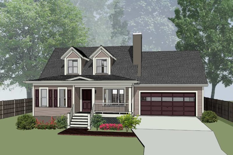Country Style House Plan - 3 Beds 2.5 Baths 1289 Sq/Ft Plan #79-157 Exterior - Front Elevation