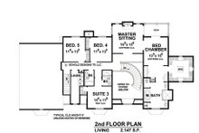 European Floor Plan - Upper Floor Plan Plan #20-2210
