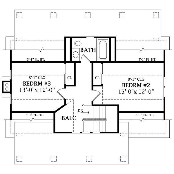 Craftsman Floor Plan - Upper Floor Plan Plan #456-5