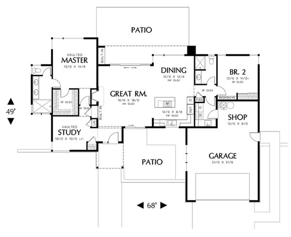 Modern Floor Plan - Main Floor Plan Plan #48-460