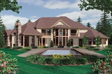 House Plan Design - Rear View - 6500 square foot European home