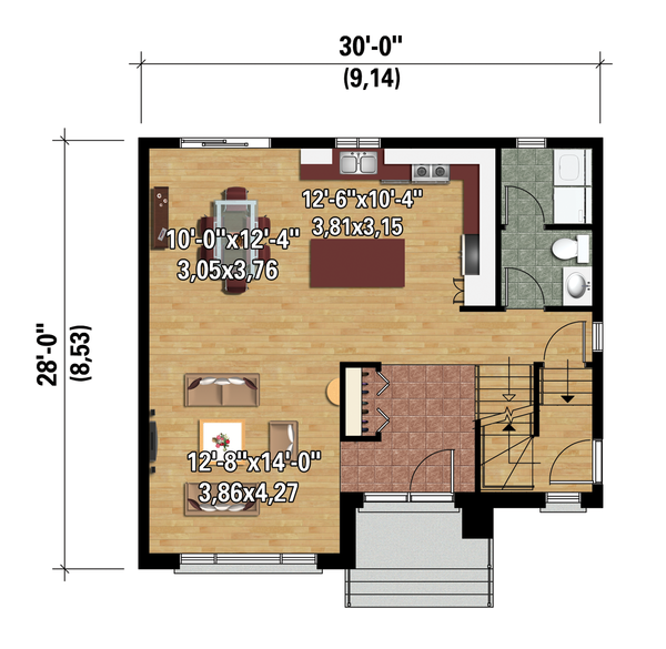 Contemporary Floor Plan - Main Floor Plan Plan #25-4278