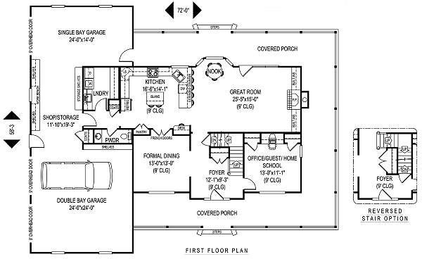 Home Plan - Farmhouse Floor Plan - Main Floor Plan #11-229