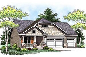 Craftsman Exterior - Front Elevation Plan #70-915