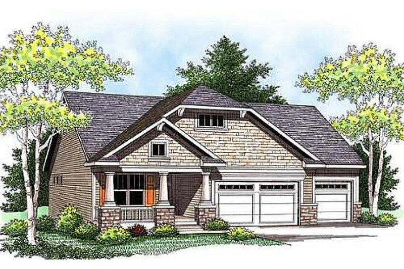 Craftsman Style House Plan - 3 Beds 2.5 Baths 1752 Sq/Ft Plan #70-915 Exterior - Front Elevation
