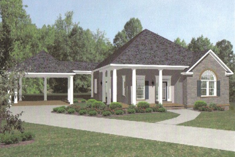 European style home, cottage design, front elevation