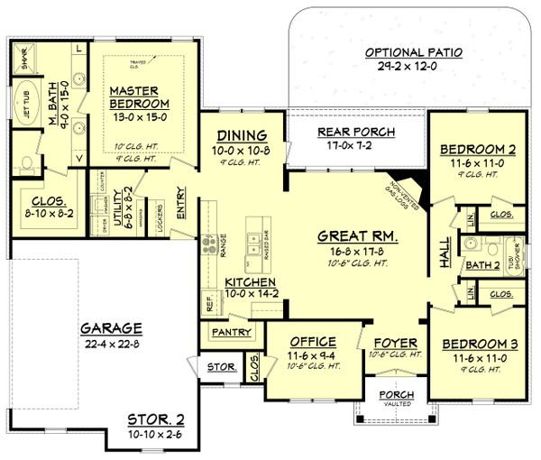 Craftsman Style House Plan - 3 Beds 2 Baths 1769 Sq/Ft Plan #430-99 Floor Plan - Main Floor Plan