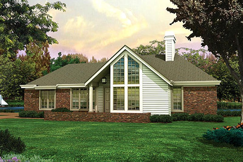 Modern Style House Plan - 3 Beds 2 Baths 1321 Sq/Ft Plan #57-169 Exterior - Front Elevation