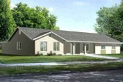 Adobe / Southwestern Style House Plan - 3 Beds 2 Baths 2099 Sq/Ft Plan #1-1429 Exterior - Front Elevation
