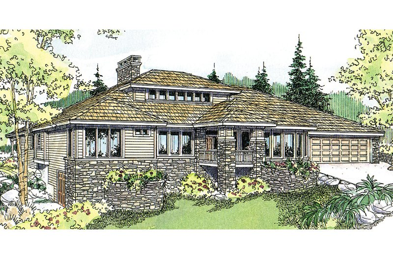 Ranch Exterior - Front Elevation Plan #124-522